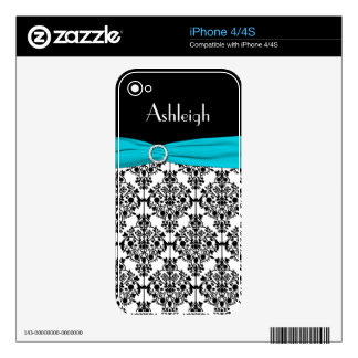Black White Aqua Damask iPhone 4/4s Skin Decal For The iPhone 4S