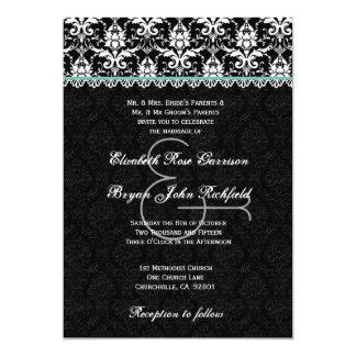 Black White Aqua Damask Lace Wedding Recycled Card