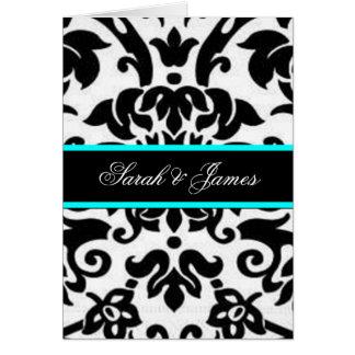 black white & aqua Damask wedding set Card