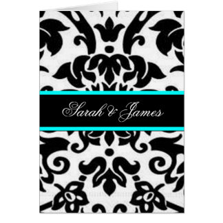 black white & aqua Damask wedding set Greeting Card