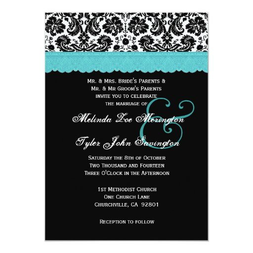 Black White Aqua Lace Flower Damask Wedding V21 Card