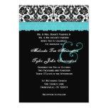 Black White Aqua Lace Flower Damask Wedding V21 Personalized Announcements