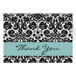 Black White Aqua lowery Damask Thank You V212 Greeting Card