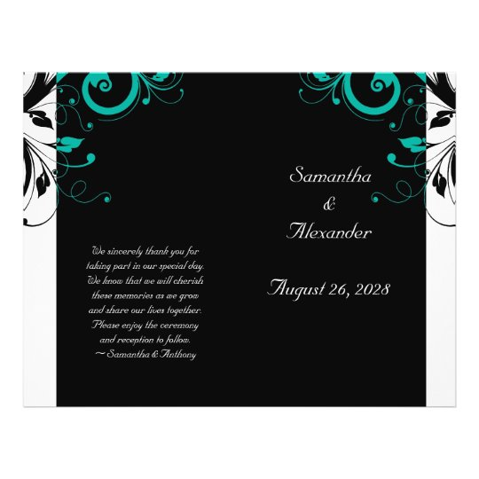 Black White Aqua Reverse Swirl Foldable Program Flyer