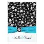 Black, White, Aqua Snowflakes Wedding Invitation