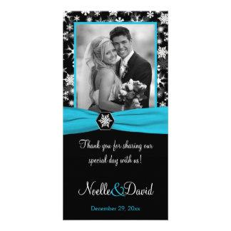 Black, White, Aqua Snowflakes Wedding Photo Card