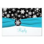 Black, White, Aqua Snowflakes Wedding Reply Card Personalized Invites