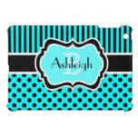 Black White Aqua Striped Polka Dot iPad Mini Case