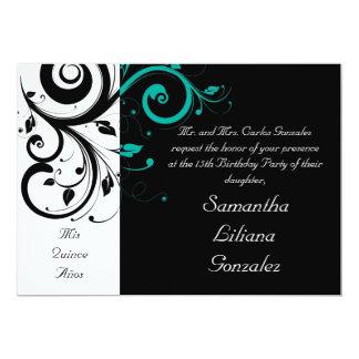 Black White Aqua Swirl Quinceañera Invitations
