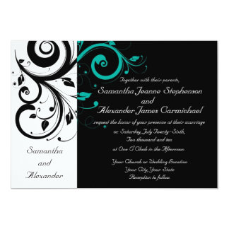 Black White Aqua Swirl Wedding Invitations