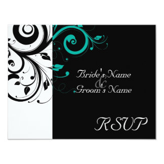 Black +White Aqua Swirl Wedding Matching RSVP Card