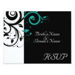 Black +White Aqua Swirl Wedding Matching RSVP Personalized Announcement
