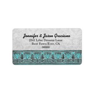Black White Aqua Vintage Flowers  Scroll Wedding Custom Address Label
