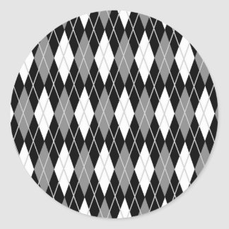 Black White Argyle Classic Round Sticker