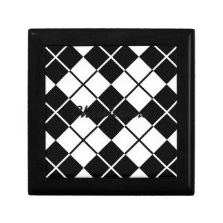 Black-White Argyle Keepsake Box
