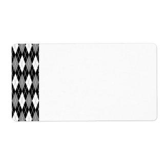 Black White Argyle Label