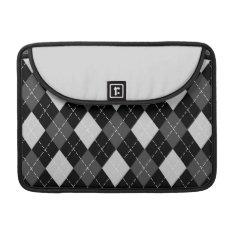 Black & White Argyle Pattern Macbook Flap Sleeve at Zazzle