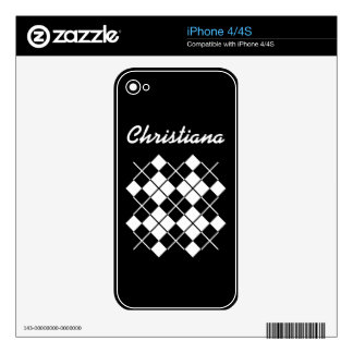 Black-White Argyle Skin For iPhone 4