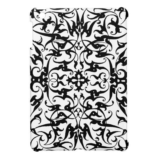 Black & White Art Deco Floral damask ipad mini iPad Mini Cases