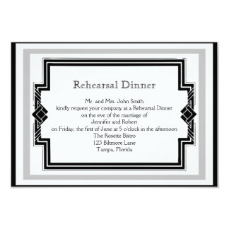 Black White Art Deco Frame Wedding Rehearsal Card