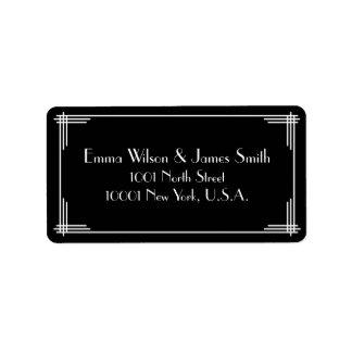 Black White Art Deco Great Gatsby Address Labels