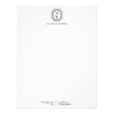 Black/White Art Deco Monogram Letterhead