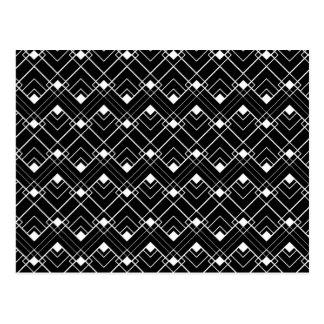 Black & White Art Deco Pattern Postcard