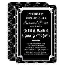 Black & White Art Deco Rehearsal Dinner Invites