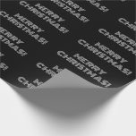 "[ Thumbnail: Black & White Art Deco Style ""Merry Christmas!"" Wrapping Paper ]"
