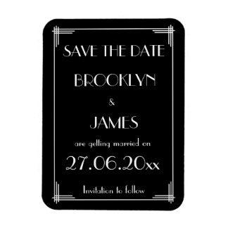 Black White Art Deco Wedding Save The Date Magnet