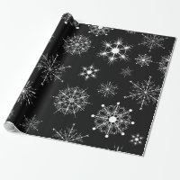 Black & White Assorted Christmas Snowflakes Wrapping Paper