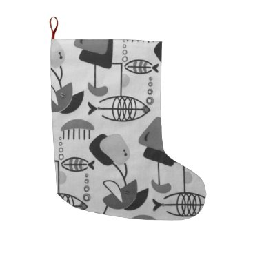 Beach Themed Black & White Atomic Pattern Christmas Stocking