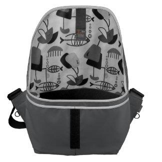 Black & White Atomic Pattern Messenger Bag