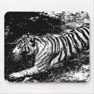 Black & White Attacking Tiger Mouse Pad