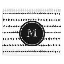 Black White Aztec Arrows Monogram Calendar