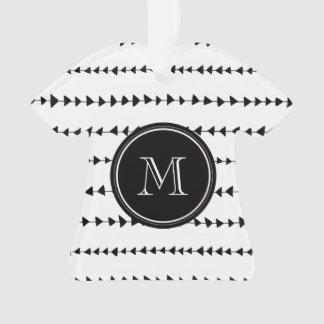 Black White Aztec Arrows Monogram Ornament