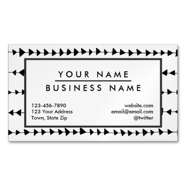 Aztec Themed Black  White Aztec Arrows Pattern Magnetic Business Card