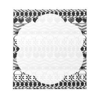 black white aztec horizontal striped pattern memo note pads