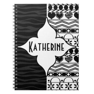 black white aztec horizontal striped pattern spiral notebook