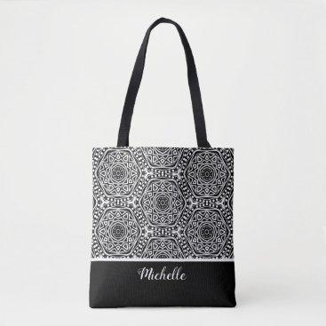 Aztec Themed Black White Aztec Mandala Pattern | Personalized Tote Bag