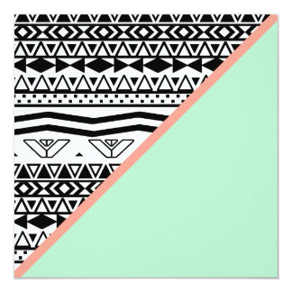Black White Aztec Pattern Mint Green Color Block Card