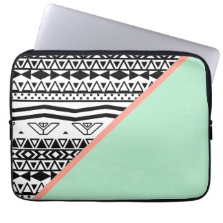 Black White Aztec Pattern Mint Green Color Block Laptop Computer Sleeve