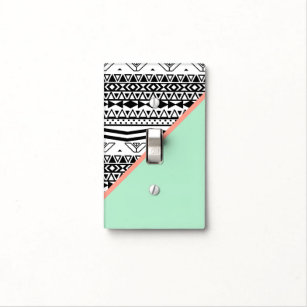 Black White Aztec Pattern Mint Green Color Block Light Switch Cover