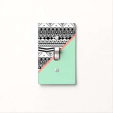 Aztec Themed Black White Aztec Pattern Mint Green Color Block Light Switch Cover