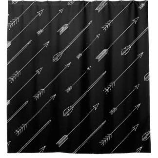 Black White Aztec Tribal Arror Pattern Shower Curtain