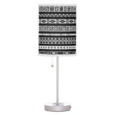 Aztec Themed Black White Aztec Tribal Geometric Pattern Desk Lamp