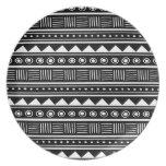 Black & White Aztec Tribal Pattern Party Plates