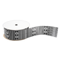 Black White Aztec Tribal Print Geometric Pattern Grosgrain Ribbon