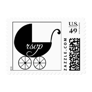 Black White Baby Carriage RSVP Postage Stamps