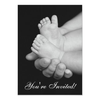 "Black & White Baby Feet Baby Shower Invitation 5"" X 7"" Invitation Card"